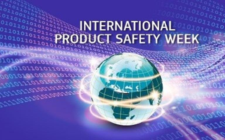International product safety week logo, showing image of the globe