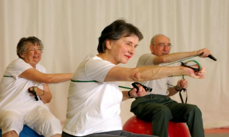 Older people exercising
